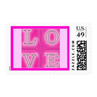"Hot Pink ""LOVE"" Postage Stamp"