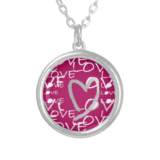 Hot Pink Love Silver Plated Necklace