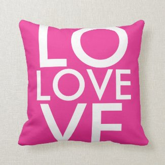 Hot Pink LOVE Throw Pillow