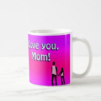 Hot Pink Love You Mom! Design Classic White Coffee Mug
