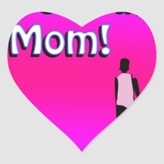 Hot Pink Love You Mom! Design Heart Sticker