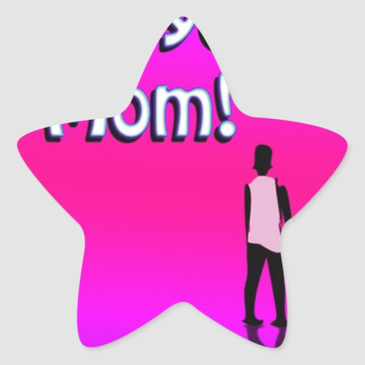 Hot Pink Love You Mom! Design Sticker