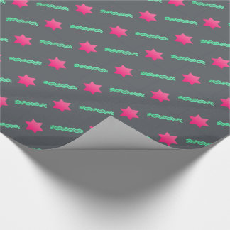 Hot Pink Magen David, Mint Streamers on Dark Gray Wrapping Paper