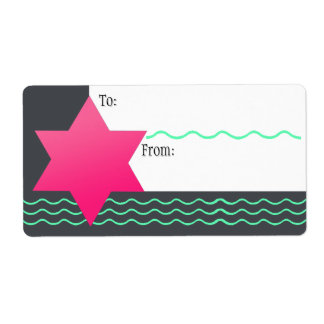 Hot Pink Magen David, Mint Streamers (To-From) Shipping Label