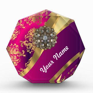 Hot pink Magenta & gold damask Acrylic Award