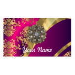 Hot pink Magenta & gold damask Double-Sided Standard Business Cards (Pack Of 100)