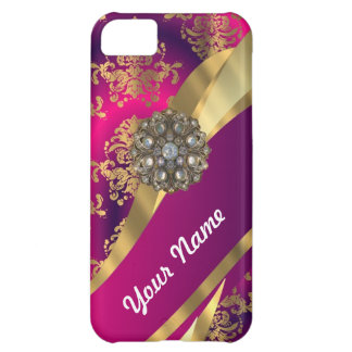 Hot pink Magenta gold damask iPhone 5C Cover
