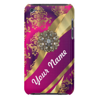 Hot pink Magenta gold damask Case-Mate iPod Touch Case