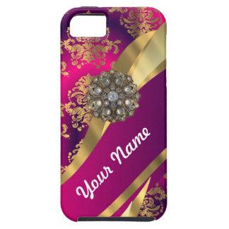 Hot pink Magenta gold damask iPhone 5 Case