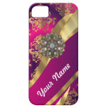 Hot pink Magenta & gold damask iPhone 5 Covers