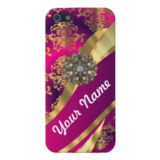 Hot pink Magenta gold damask iPhone 5 Covers