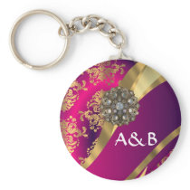 Hot pink Magenta & gold damask Keychain