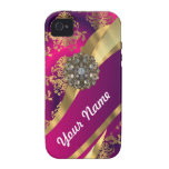 Hot pink Magenta & gold damask Vibe iPhone 4 Cases