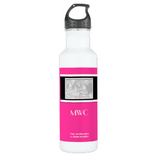 """""""hot pink"""" """"make your own"""" custom template 24oz water bottle"""