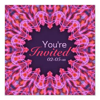 Hot Pink Mandala 5.25x5.25 Square Paper Invitation Card