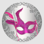 Hot Pink Mask Masquerade Envelope Seal Favor Round Stickers
