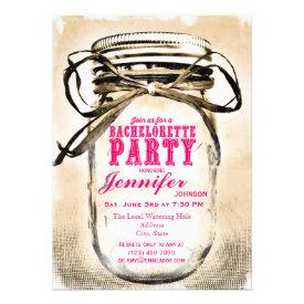 Hot Pink Mason Jar Bachelorette Party Invitations