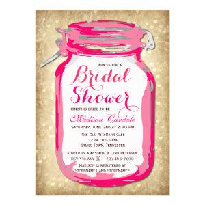 Hot Pink Mason Jar Bridal Shower Invitations