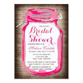 Hot Pink Mason Jar Bridal Shower Invitations 4.5