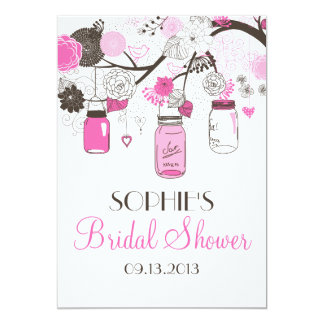 Hot Pink Mason Jars Cute Bridal Shower Invitation