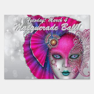 Hot Pink Masquerade Ball! Party Sign