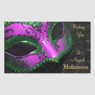 Hot Pink Masquerade Mask Halloween Party Stickers