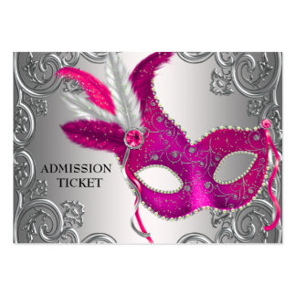 Hot Pink Masquerade Party Admission Tickets Large Business Cards (Pack Of 100)