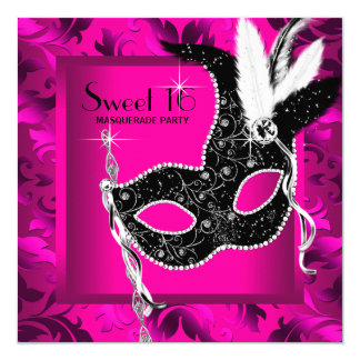 Hot Pink Masquerade Party Card