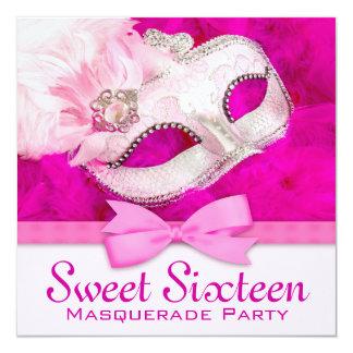 Hot Pink Masquerade Party Invitations