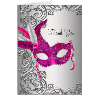 Hot Pink Masquerade Party Thank You Cards