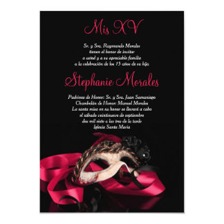 Hot Pink Masquerade Quinceanera Invitation