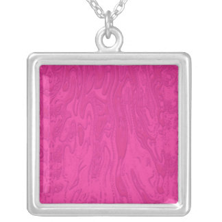 Hot Pink Melted Wax Square Pendant Necklace