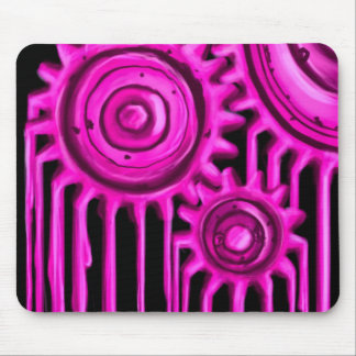 Hot Pink Melting Gears Mouse Pad