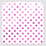 Hot Pink Metallic Foil Polka Dot White Square Sticker
