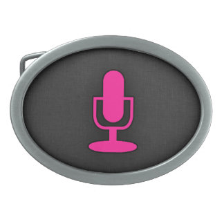 Hot Pink Microphone Oval Belt Buckle