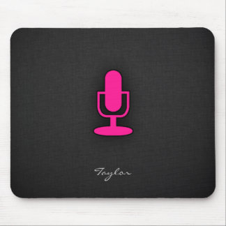 Hot Pink Microphone Mouse Pad