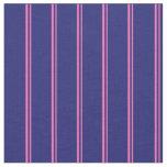 [ Thumbnail: Hot Pink & Midnight Blue Striped Pattern Fabric ]