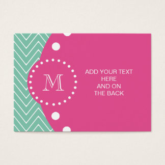 Hot Pink, Mint Green Chevron | Your Monogram Business Card