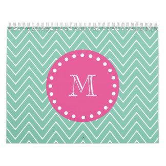 Hot Pink, Mint Green Chevron | Your Monogram Calendar
