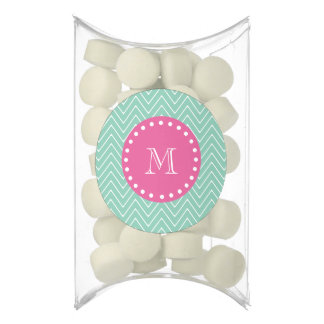 Hot Pink, Mint Green Chevron | Your Monogram Chewing Gum Favors