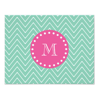 Hot Pink, Mint Green Chevron | Your Monogram 4.25x5.5 Paper Invitation Card