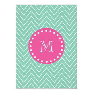 "Hot Pink, Mint Green Chevron | Your Monogram 4.5"" X 6.25"" Invitation Card"
