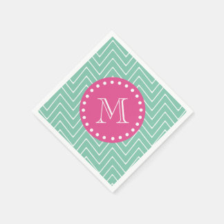 Hot Pink, Mint Green Chevron | Your Monogram Napkin