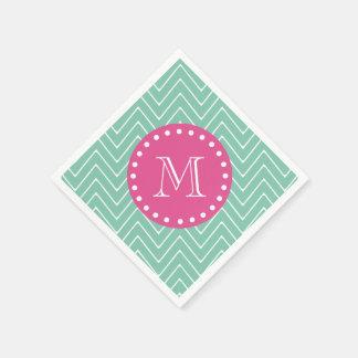 Hot Pink, Mint Green Chevron | Your Monogram Disposable Napkins