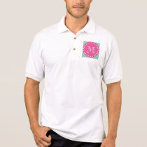Hot Pink, Mint Green Chevron | Your Monogram Polo Shirt