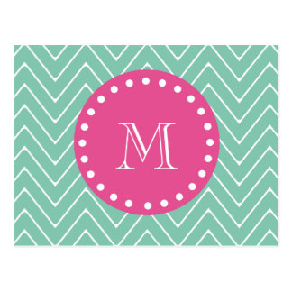 Hot Pink, Mint Green Chevron | Your Monogram Postcard