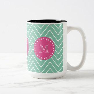 Hot Pink, Mint Green Chevron | Your Monogram Two-Tone Coffee Mug