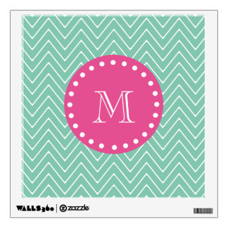 Hot Pink, Mint Green Chevron | Your Monogram Wall Graphic