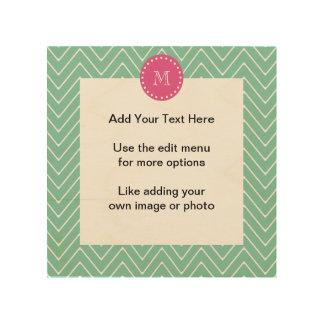 Hot Pink, Mint Green Chevron   Your Monogram Wood Print