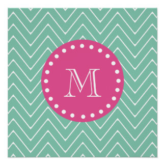 Hot Pink, Mint Green Chevron | Your Monogram Perfect Poster
